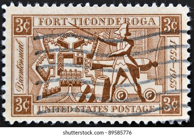 UNITED STATES OF AMERICA - CIRCA 1955 : A stamp printed in the USA shows Fort Ticonderoga, circa 1955