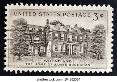 UNITED STATES OF AMERICA - CIRCA 1956: A stamp printed in USA shows Home of James Buchanan in Wheatland, circa 1956