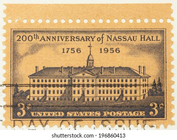 UNITED STATES OF AMERICA - CIRCA 1956: a stamp printed in the USA shows Nassau Hall, Princeton, New York, 200th Anniversary of Nassau Hall, Princeton University, circa 1956
