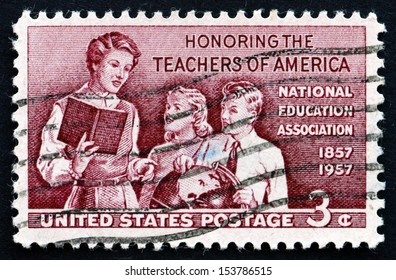 UNITED STATES OF AMERICA - CIRCA 1957: a stamp printed in the USA shows Teacher and Pupils, Honoring the School Teachers of America, circa 1957