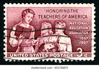 UNITED STATES OF AMERICA - CIRCA 1957: A used postage stamp from the USA, Honoring the Teachers of America, circa 1957.