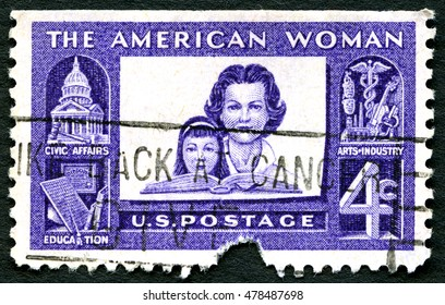 UNITED STATES OF AMERICA - CIRCA 1960: A used postage stamp from the USA celebrating the American Woman, circa 1960.