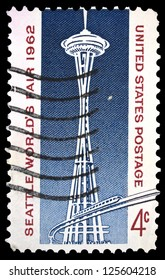 "UNITED STATES OF AMERICA - CIRCA 1962: A stamp printed in USA, shows Space Needle and Monorail, with inscription and name of series ""Seattle World Fair 1962"", circa 1962"