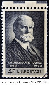 UNITED STATES OF AMERICA - CIRCA 1962: A stamp printed in USA shows portrait of Charles Evans Hughes, circa 1962