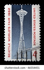 UNITED STATES OF AMERICA - CIRCA 1962: A stamp printed in the United States of America shows Space Needle, circa 1962