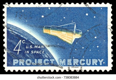 UNITED STATES OF AMERICA - CIRCA 1962: A used postage stamp from the USA, MOSCOW, September 2, 2017: dedicated to project Mercury, the first flight into space by US astronaut John Glenn, circa 1962.
