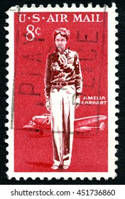 UNITED STATES OF AMERICA - CIRCA 1963: A used postage stamp from the USA celebrating American aviation pioneer Amelia Earhart, circa 1963.