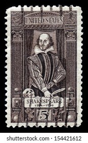 UNITED STATES OF AMERICA - CIRCA 1964: stamp printed in USA shows a portrait of William Shakespeare. 400th anniversary of the birth of Shakespeare, circa 1964