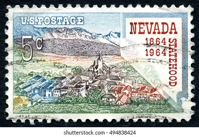 UNITED STATES OF AMERICA - CIRCA 1964: A postage stamp from the USA, celebrating the 100th Anniversary of Nevada Statehood, circa 1964.