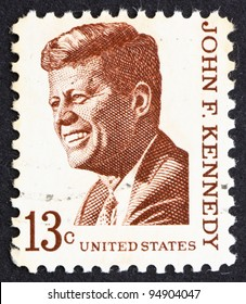 UNITED STATES OF AMERICA - CIRCA 1967: a stamp printed in the United States of America shows John F. Kennedy, 35th President of USA 1961-1963, circa 1967