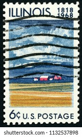 UNITED STATES OF AMERICA - CIRCA 1968 stamp printed in USA (US) shows farm house, fields of ripening grain; 1818 - 1968; Illinois statehood; Scott 1339 A761 6c; circa 1968