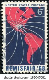 UNITED STATES OF AMERICA - CIRCA 1968 : Stamps printed in USA honoring Hemisfair 68, circa 1968