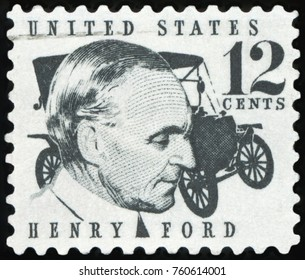 UNITED STATES OF AMERICA - CIRCA 1968: A stamp printed in USA shows Henry Ford (1863-1947) and car Ford Model T from 1909, circa 1968