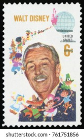 UNITED STATES OF AMERICA - CIRCA 1968: A used postage stamp from the USA, depicting an image of American animator, voice actor and film producer Walt Disney, circa 1968.