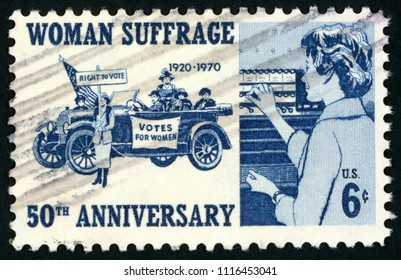 UNITED STATES OF AMERICA - CIRCA 1970: stamp printed in USA (US) shows suffragettes, 1920 woman voter; 50th anniversary woman suffrage 1920 - 1970; Scott 1406 A820 6c blue; circa 1970