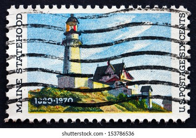 UNITED STATES OF AMERICA - CIRCA 1970: a stamp printed in the USA shows Lighthouse at Two Lights, Maine, Painting by Edward Hopper, circa 1970