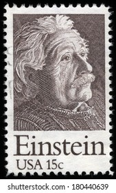 UNITED STATES OF AMERICA - CIRCA 1970s: A stamp printed in the USA shows a Portrait of Albert Einstein, Theoretical Physicist, circa 1970�s