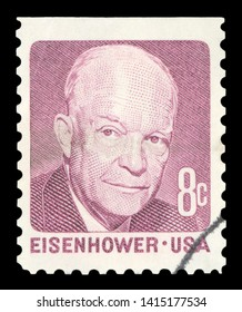 UNITED STATES OF AMERICA - CIRCA 1971: A used postage stamp from the USA, depicting a portrait of former US President Dwight D Eisenhower, circa 1971.