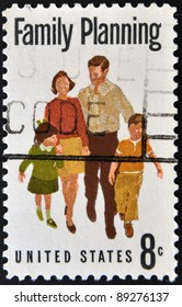 UNITED STATES OF AMERICA - CIRCA 1972: A stamp printed in USA dedicated to family planning, circa 1972