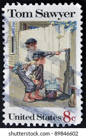 UNITED STATES OF AMERICA - CIRCA 1972: A stamp printed in USA shows Tom Sawyer, circa 1972