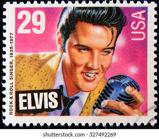 UNITED STATES OF AMERICA - CIRCA 1980: A stamp printed in USA showing Elvis Presley, circa 1980