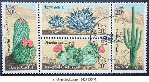 UNITED STATES OF AMERICA - CIRCA 1981: Four postage stamps of USA shows Desert Plants