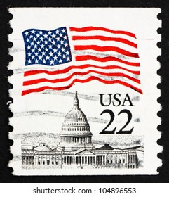 UNITED STATES OF AMERICA - CIRCA 1985: a stamp printed in the USA shows Flag over Capitol Dome, circa 1985