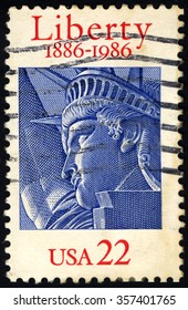 UNITED STATES OF AMERICA - CIRCA 1986: A stamp printed in USA dedicated to 100th Year of Liberty shows Statue Of Liberty, circa 1986