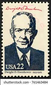 UNITED STATES OF AMERICA - CIRCA 1986: stamp printed in USA shows 34th president Dwight D. Eisenhower (1953-1961); Presidents; Ameripex 86; Scott 2219 A1599 22c; circa 1986