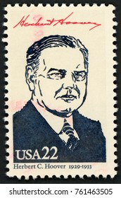 UNITED STATES OF AMERICA - CIRCA 1986: stamp printed in USA shows 31st president Herbert C. Hoover (1929-1933); Presidents; Ameripex 86; Scott 2219 A1599 22c; circa 1986
