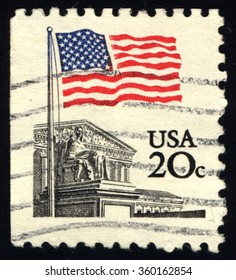 UNITED STATES OF AMERICA - CIRCA 1988: A stamp printed in USA shows Flag Over Supreme Court, circa 1988.