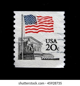 UNITED STATES OF AMERICA - CIRCA 1988: A stamp printed in the USA shows Flag Over Supreme Court Issue, circa 1988