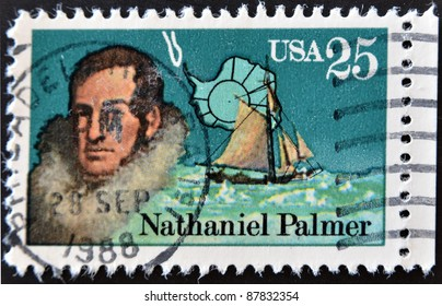 UNITED STATES OF AMERICA - CIRCA 1988: A stamp printed in USA shows Nathaniel Palmer, co-discoverer of Antarctica, circa 1988