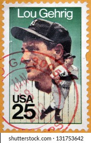 """UNITED STATES OF AMERICA - CIRCA 1989: A stamp printed in USA shows Henry Louis """"Lou"""" Gehrig, Baseball Player for the New York Yankees, circa 1989"""