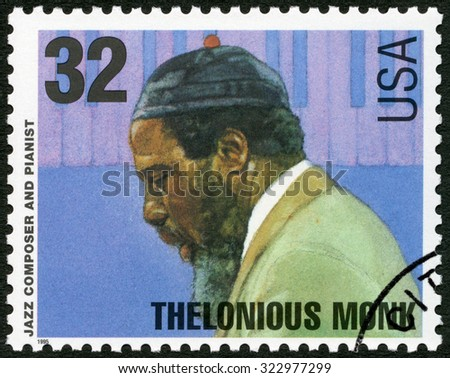 UNITED STATES OF AMERICA - CIRCA 1995: A stamp printed in USA shows Thelonious Sphere Monk (1917-1982), jazz composer and pianist, circa 1995