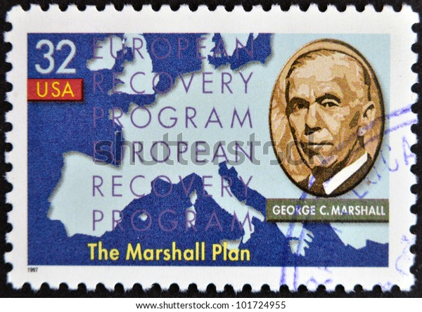 UNITED STATES OF AMERICA - CIRCA 1997 : stamp printed in USA show shows George Marshall, circa 1997