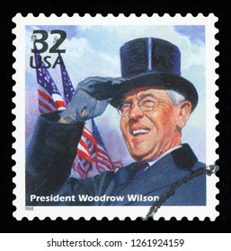 UNITED STATES OF AMERICA - CIRCA 1998: A stamp printed in USA shows Woodrow Wilson, series Celebrate the Century, 1910s, CIRCA 1998.
