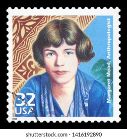 UNITED STATES OF AMERICA, CIRCA 1998: a postage stamp printed in USA showing an image of anthropologist Margaret Mead, circa 1998.