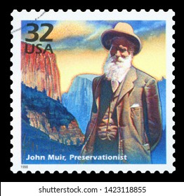 UNITED STATES OF AMERICA - CIRCA 1998: a postage stamp printed in USA showing an image of naturalist and conservationist, John Muir, circa 1998.