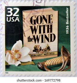 UNITED STATES OF AMERICA - CIRCA 1998: a stamp printed in USA showing an image of Gone with the Wind novel by Margaret Mitchell, circa 1998.