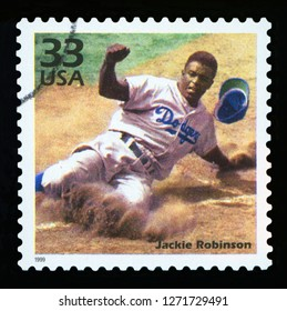 UNITED STATES OF AMERICA - CIRCA 1999: a postage stamp printed in USA showing an image of Jackie Robinson, CIRCA 1999.