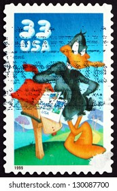 UNITED STATES OF AMERICA - CIRCA 1999: a stamp printed in the USA shows Daffy Duck, Animal Cartoon Character, circa 1999