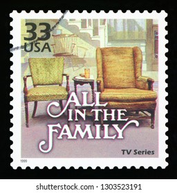 UNITED STATES OF AMERICA, CIRCA 1999: a postage stamp printed in USA showing an image of All in the Family sitcom, CIRCA 1999.