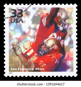 UNITED STATES OF AMERICA - CIRCA 1999: a postage stamp printed in USA celebrating the four Super Bowl that San Francisco 49ers won in the eighties, circa 1999.
