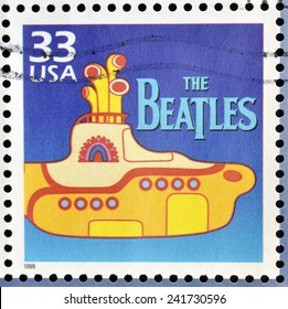 UNITED STATES OF AMERICA - CIRCA 1999: Stamp printed in USA dedicated to celebrate the century 1960s, shows the beatles, circa 1999