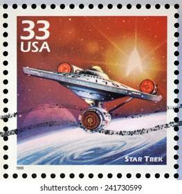 UNITED STATES OF AMERICA - CIRCA 1999: Stamp printed in USA dedicated to celebrate the century 1960s, shows star trek, circa 1999