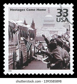 UNITED STATES OF AMERICA - CIRCA 2000: A postage stamp printed in USA showing an image of the celebrations of the release of the US Tehran embassy hostages in Washington in 1981, circa 2000.
