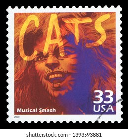 UNITED STATES OF AMERICA - CIRCA 2000: a postage stamp printed in USA showing an image of Cats musical, circa 2000.