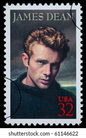 UNITED STATES AMERICA - CIRCA 2000: A postage stamp printed in the USA showing James Dean, circa 2000