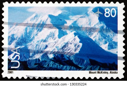 UNITED STATES OF AMERICA - CIRCA 2001: a stamp printed in the USA shows View of Mt. McKinley, The Highest Mountain Peak in North America, circa 2001